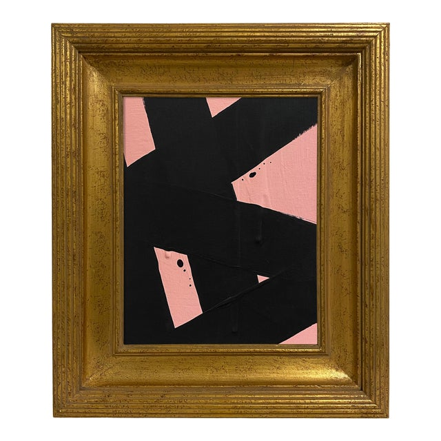 Ron Giusti Mini Abstract Blush Black Painting, Framed For Sale