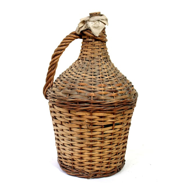 Vintage Wicker Covered Green Glass Wine Jug With Cork and Cloth For Sale In Los Angeles - Image 6 of 6
