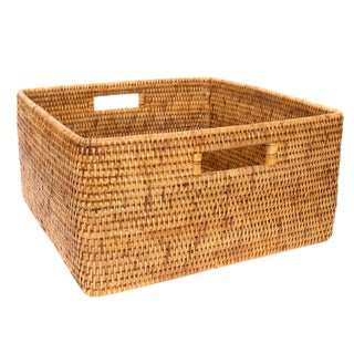 Boho Chic Artifacts Rattan Square Basket For Sale