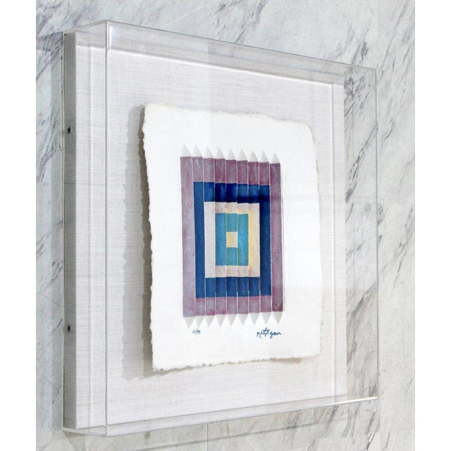 Abstract Mid-Century Modern Yaakov Agam Lucite Framed Abstract Serigraph Signed Numbered For Sale - Image 3 of 7