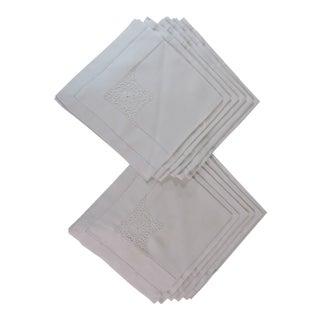 Vintage Hemstitched Linen Napkins - Set of 10 For Sale