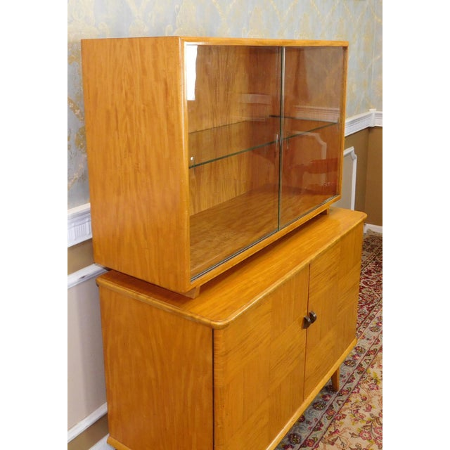 Axel Larsson for Bodafors Mid Century Birch & Mahogany 2 Part China Cabinet For Sale - Image 11 of 11