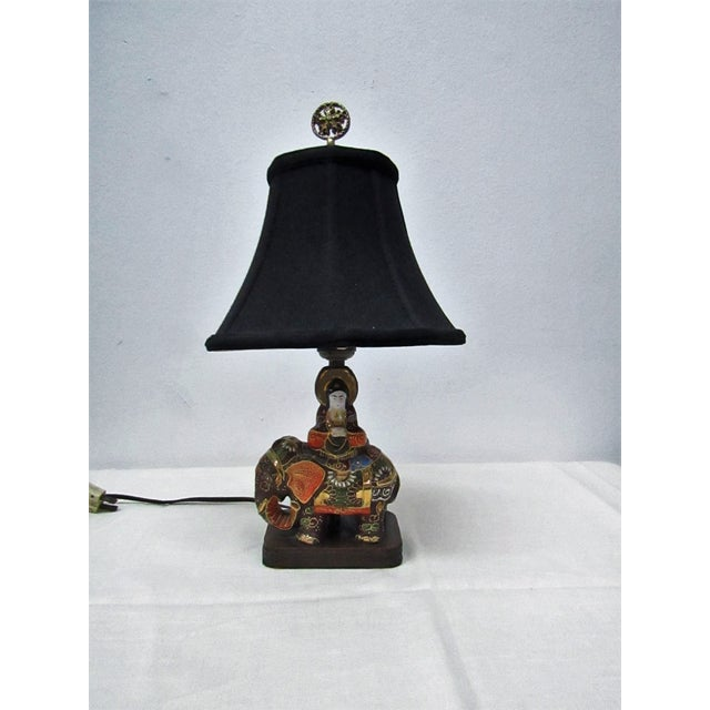 Vintage Enamel Satsuma Moriage Elephant Lamp With Shade For Sale In West Palm - Image 6 of 7