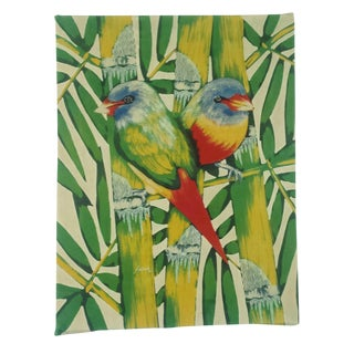 Mid-Century Tropical Birds Silk Painting