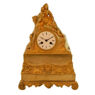 Antique 19th Century Gilded Mantle Desk Clock With Mother and Child For Sale