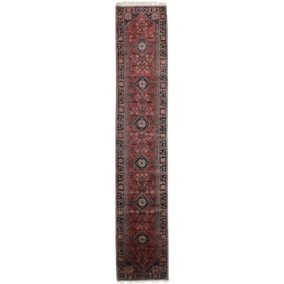 Vintage Mid-Century Persian Style Hand-Knotted Wool Runner Rug - 2′8″ × 14′ For Sale