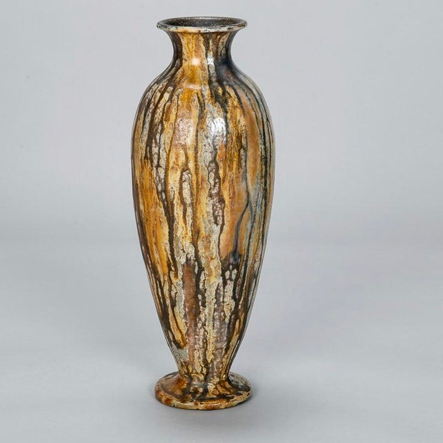 Brown Tall Narrow Signed Roger Guerin Pottery Vase For Sale - Image 8 of 8