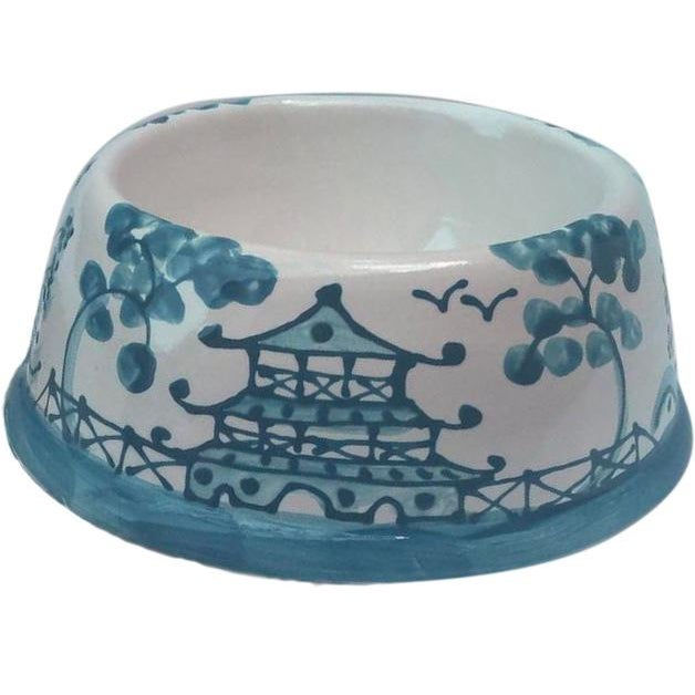 Caribbean Blue Chinoiserie Dog Bowl For Sale