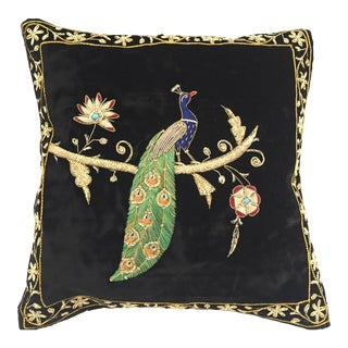 Mid Century Velvet Black Silk Throw Pillow Embroidered With Gold Peacock Design For Sale