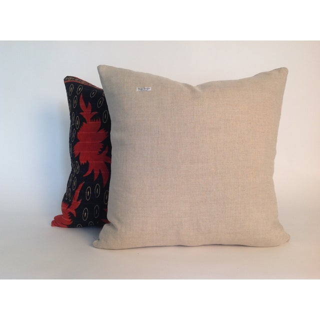 Contemporary Vintage Block Printed Kantha Quilt Pillows - Pair For Sale - Image 3 of 4