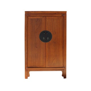 Chinese Brown Stain Wedding Armoire Wardrobe Tv Cabinet