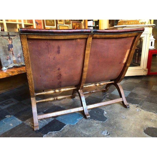 1950s Vintage Leather Riveted Settee For Sale - Image 9 of 13