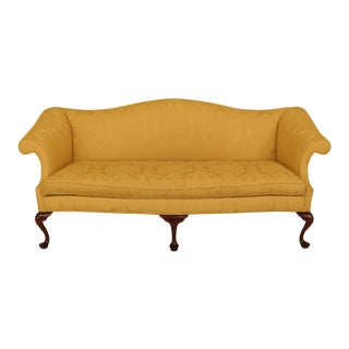 Modern Southwood Yellow Damask Upholstered Sofa For Sale