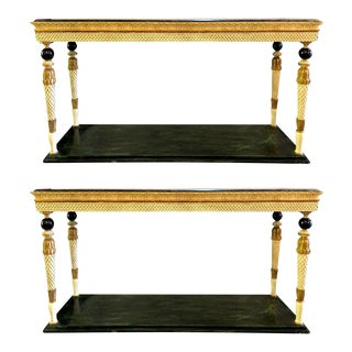 Neoclassical Style Marble-Top Consoles Attributed to Maison Jansen - a Pair For Sale
