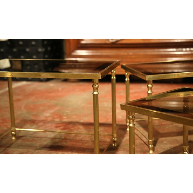 Set of Early 20th Century, French Brass Nesting Tables Gigognes For Sale - Image 9 of 9