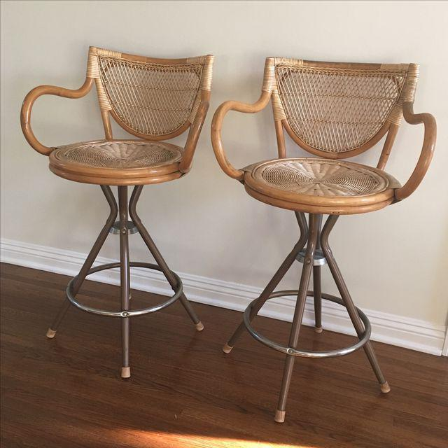 Vintage Wicker Bar Stools - A Pair - Image 6 of 7