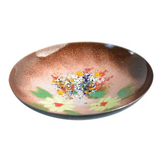 1960s Enameled Copper Plate Bowl For Sale