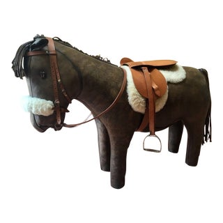 Large Mid-Century Omersa Abercrombie and Fitch Leather Pony Horse Footstool Seat