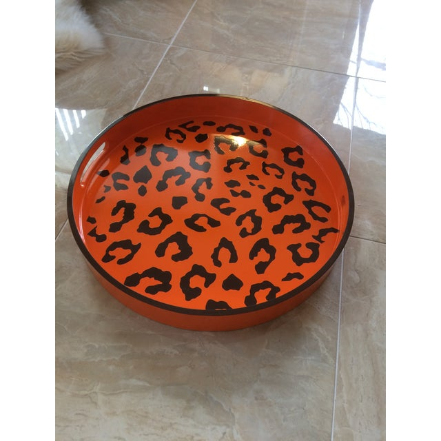 Round Hermès Inspired Orange & Brown Leopard Tray For Sale In Denver - Image 6 of 9