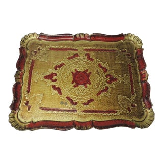 Large Vintage Florentine Style Wood Painted Tray For Sale