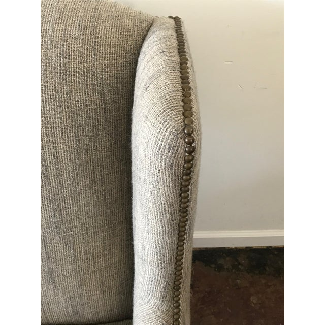 1960s Vintage Mark Alexander Linen Fabric Wingback Chair For Sale In Los Angeles - Image 6 of 9