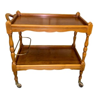 Vintage French Cherry Wood Bar Cart Tea Cart For Sale