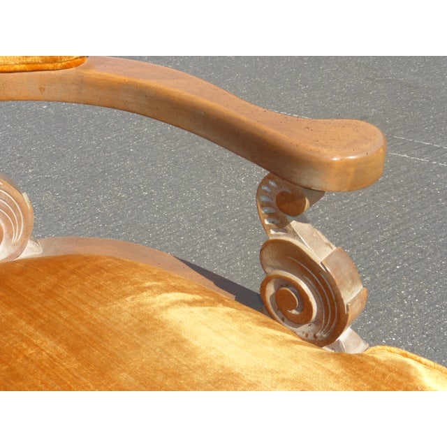 Hollywood Regency Orange Velvet Chairs - A Pair - Image 10 of 11