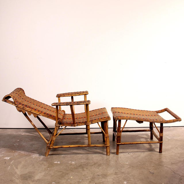Vintage french bamboo rattan chaise lounge chairish for Antique french chaise lounge