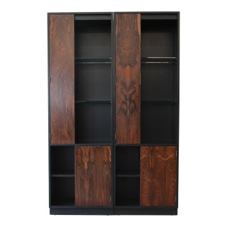 Harvey Probber Rosewood and Ebonized Wood Display Cabinets, Pair
