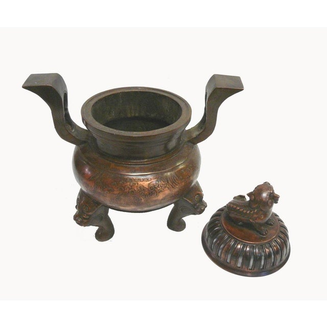 Chinese Bronze Foo Dogs Graphic Incense Burner - Image 3 of 7