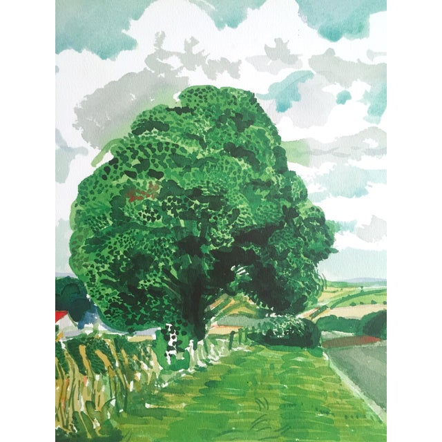 """Paper David Hockney Fine Art Lithograph Print Midsummer : East Yorkshire Series """" Road and Tree Near Wetwang """" 2004 For Sale - Image 7 of 13"""