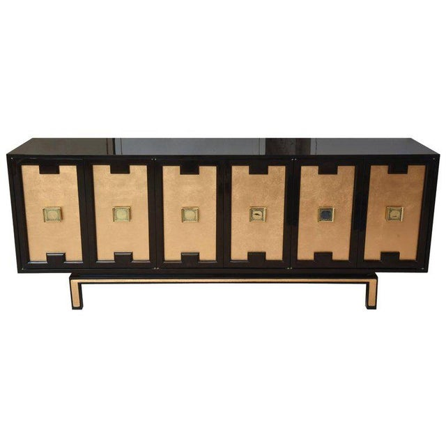 Vintage Lacquered, Gold Leaf and Brass Cabinet/ Buffet For Sale - Image 11 of 11
