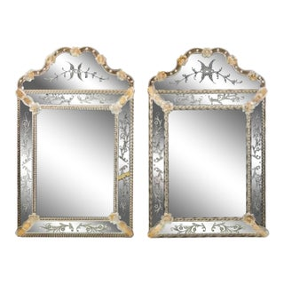 Mid 20th Century Venetian Murano Mirrors - a Pair For Sale