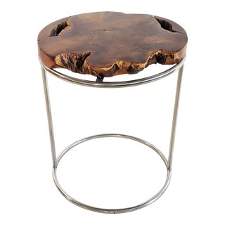 Modern Live Edge Wood Slab and Chrome Side Table For Sale