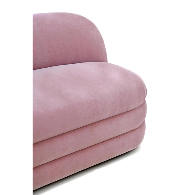 Textile Pair of Vladimir Kagan Pink Mohair Settees For Sale - Image 7 of 9