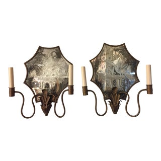 Late 19th Century Antique Mirror Wall Sconces - A Pair For Sale