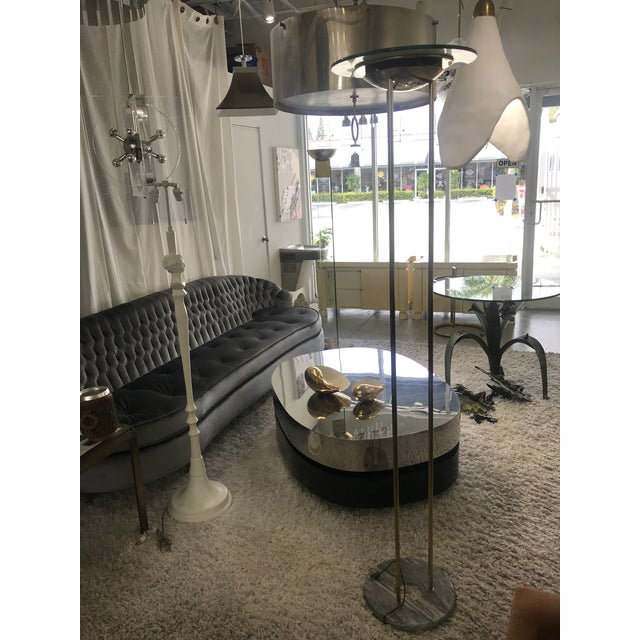 1980s 1980s Italian Brass Floor Lamp With Marble Base For Sale - Image 5 of 10