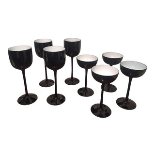Mid 20th Century Carlo Moretti Black Coupes and Goblets - Set of 8 For Sale