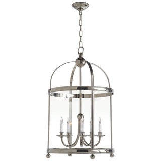 Edwardian Arch Top Large Lantern in Polished Nickel For Sale