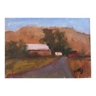 Pena Adobe Barn in Summer Original Oil Painting For Sale