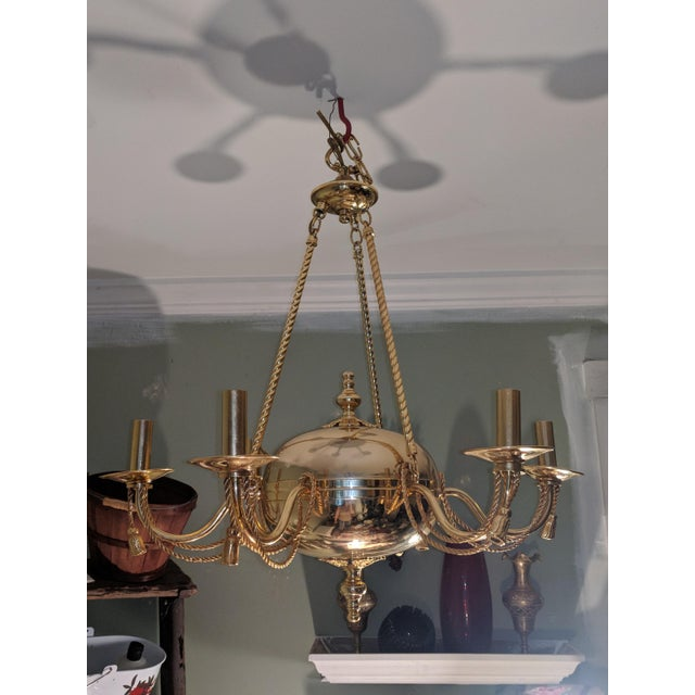 Vintage Solid Brass Rope and Tassels Chandelier For Sale - Image 10 of 10