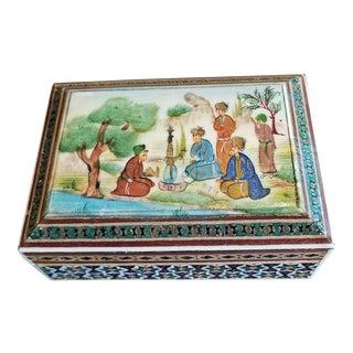 Persian Handpainted Khatam Mosaic Trinket Box For Sale