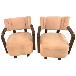Pair of Modern Art Deco Rosewood Club Bergère or Lounge Chairs For Sale