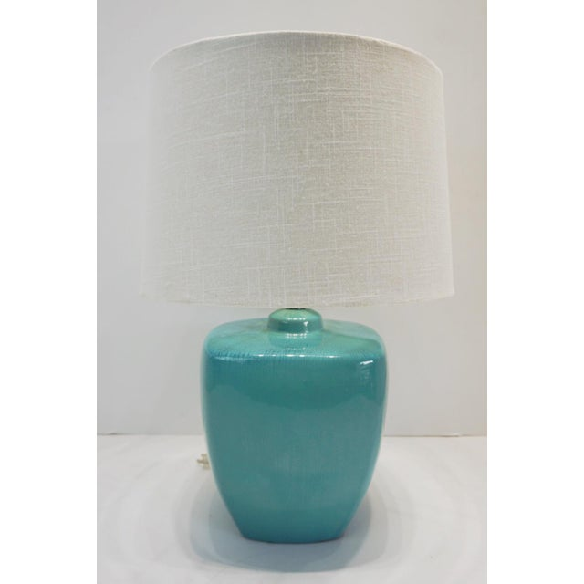 Ceramic Modern Turquoise Ceramic Table Lamps - a Pair For Sale - Image 7 of 10