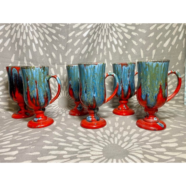 1970s Vintage Hand-Crafted Blue & Red Drip Glaze Ceramic Pottery Footed Mugs- Set of 6 For Sale - Image 4 of 8