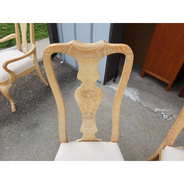 1980s Vintage Drexel Burled Olive & Ash High Back Dining Chairs-Set of 8 For Sale - Image 5 of 11