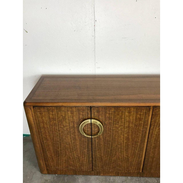 Metal Midcentury Mahogany and Brass Credenza by Micheal Taylor for Baker For Sale - Image 7 of 13