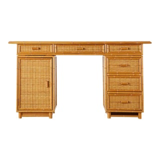 Italian Faux Bamboo Rattan Pedestal Writing Table or Desk For Sale