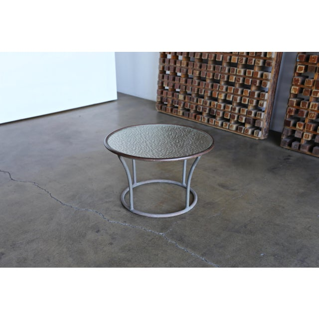 1960s Bronze and Pebble Glass Side Table by Kipp Stewart for Terra Circa 1965 For Sale - Image 5 of 9