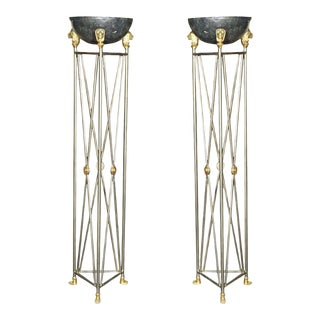 Metal French Directoire Style Planters - A Pair